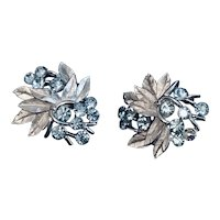 Crown Trifari Silver Tone Clip Earrings with Pale Blue Rhinestones