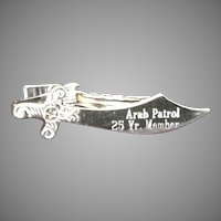 Shriner's Scimitar Sword Tie Clip. Arab Patrol 25 year Member.