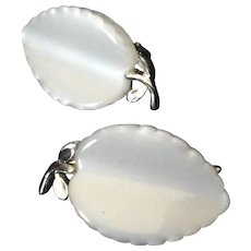 Lisner White Thermoset Leaf Clip Earrings