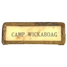 Old Camp Wickaboag West Brookfield, Massachusetts Award Badge