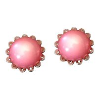 Vintage Pink Moonglow Clip Earrings Signed STAR
