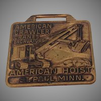 Pre-1963 Advertising Fob American Crawler Cranes and Excavators by American Hoist, St. Paul, Minnesota
