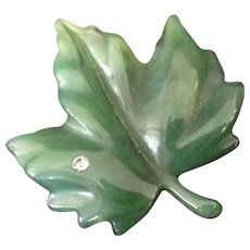 Avon Soft Green Dew Touch Maple Leaf Pin.   Book Piece