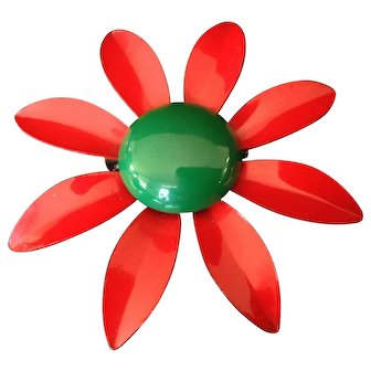 Red and Green Enamel Flower Pin