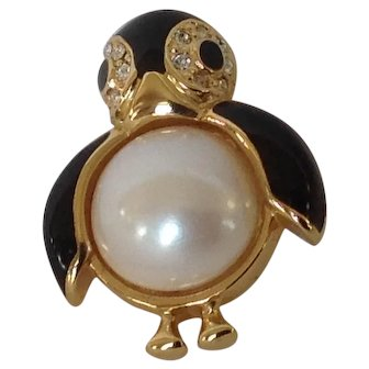 Marvella Black Enamel Penguin with Simulated Pearl and Rhinestone Pin