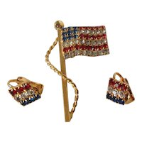 Patriotic Flag Pin and Matching Clip Earrings