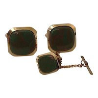 Cuff Link and Tie Tac set with Marbled Green and Brown Stones.