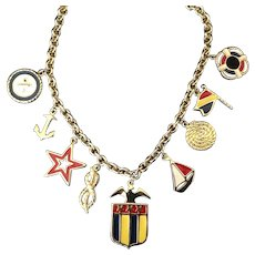 Nautical theme charm necklace