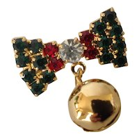 Vintage Christmas Jingle Bell on a Rhinestone Bow Pin