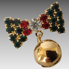 Vintage Christmas Jingle Bell on a Rhinestone Bow Pin