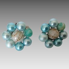 Vintage Blue and White Bead Cluster Clip Earrings Japan