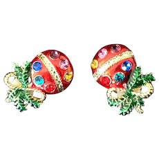 Red Christmas Ball Clip Earrings with Multi-colored Rhinestones.
