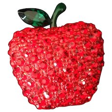 Sparkling Austrian Crystal Apple Pin