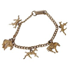 Gold Tone Child or Small Adult Charm Bracelet with Horse Charms