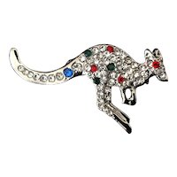 Silvertone kangaroo pin with pave rhinestones and studded with colored rhinestones