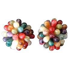 Vintage Multi-colored Tear Drop Bead Cluster Clip Earrings