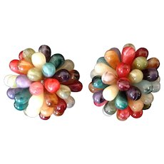 Vintage Multi-colored Tear Drop Bead Cluster Clip Earrings