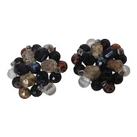 Vintage Germany Bead Cluster Clip Earrings in Black and Metallic Lusters