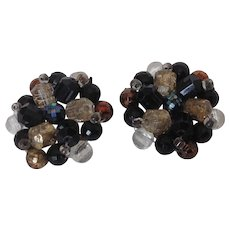 Vintage Germany Bead Cluster Clip Earrings in Black and Metallic Lusters