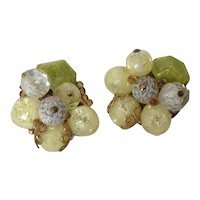 Vintage Lime Green Bead Cluster Clip Earrings W. Germany