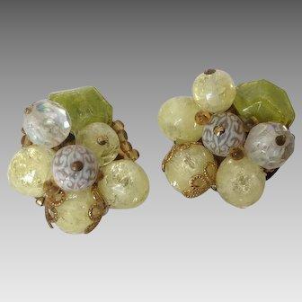 Vintage Lime Green Bead Cluster Clip Earrings W. Germany
