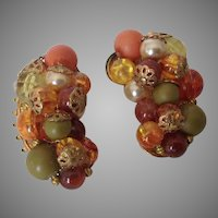 Unusual vintage crescent bead cluster earrings in fall colors