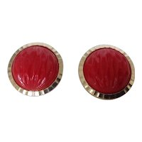 Vintage Hong Kong Red Textured Dome Clip Earrings
