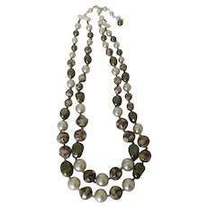 Two Strand Vintage Hong Kong Bead Necklace in Lush Shades of Sage and Olive Green