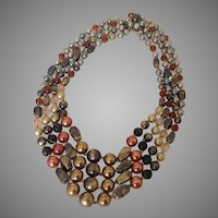 Vintage Hong Kong Necklace with Four Graduated Strands of Metallic Hued Beads