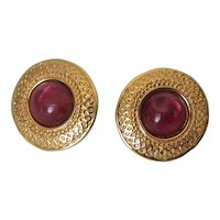 Vintage Napier Gold Tone Combination Clip/Screwback Earrings with Cranberry Glass Cabochon