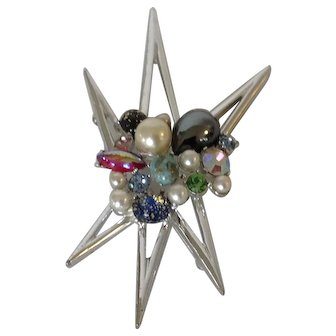 Emmons Atomic Star Pin with Multiple Stones