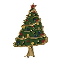 "Multicolor Enamel and Gold Tone Christmas Tree Pin Signed ""JJ"""