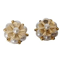 Vintage Hong Kong faux pearl and gold tone bead cluster earrings