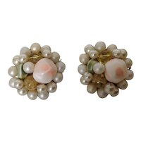Japan Bead Cluster Earrings with simulated pearls and glass beads