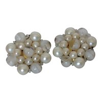 Vintage Simulated Pearl and Variegated Glass Bead Cluster Earrings
