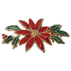 Enamel Poinsettia Pin