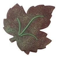 Copper with Enamel Leaf Pin