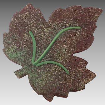 Copper with Enamel Leaf Pin