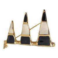Nautical Theme Navy Blue and Cream Enamel Flag Pin