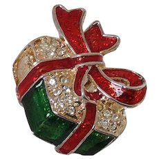 Vintage Signed BEST Enamel and Rhinestone Christmas Present Pin or Pendant