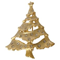 Pierced Gold Tone Christmas Tree Pin with Rhinestone Ornaments