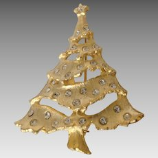 Pierced Gold Tone Christmas Tree Pin with Rhinestone Ornaments