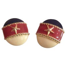 Red, White and Blue Patriotic Nautical Theme Clip Earrings