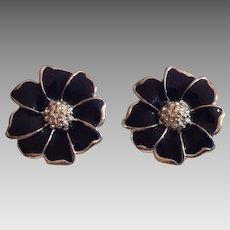 Midnight Blue Enamel and Silvertone Flower Clip Earrings