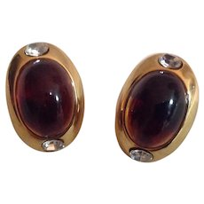 Big Bold Oval Goldtone and Rhinestone Earrings with Warm Honey Brown Oval Stones