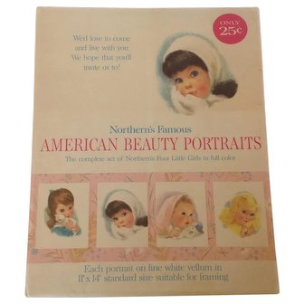 Original 1960's Set of 4 Northern Tissue Pastel Girls  American Beauty Portraits Ready for Framing