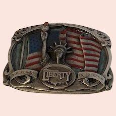 Patriotic Enamel Flame of Freedom Bergamot Brass Works 1985 Belt Buckle