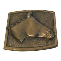 Brass Belt Buckle with Horse Head