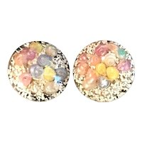 Lucite Confetti and Sea Shell Inclusion Clip Earrings