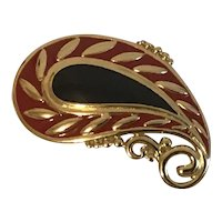 Striking Monet Red, Black and Gold Paisley Pin